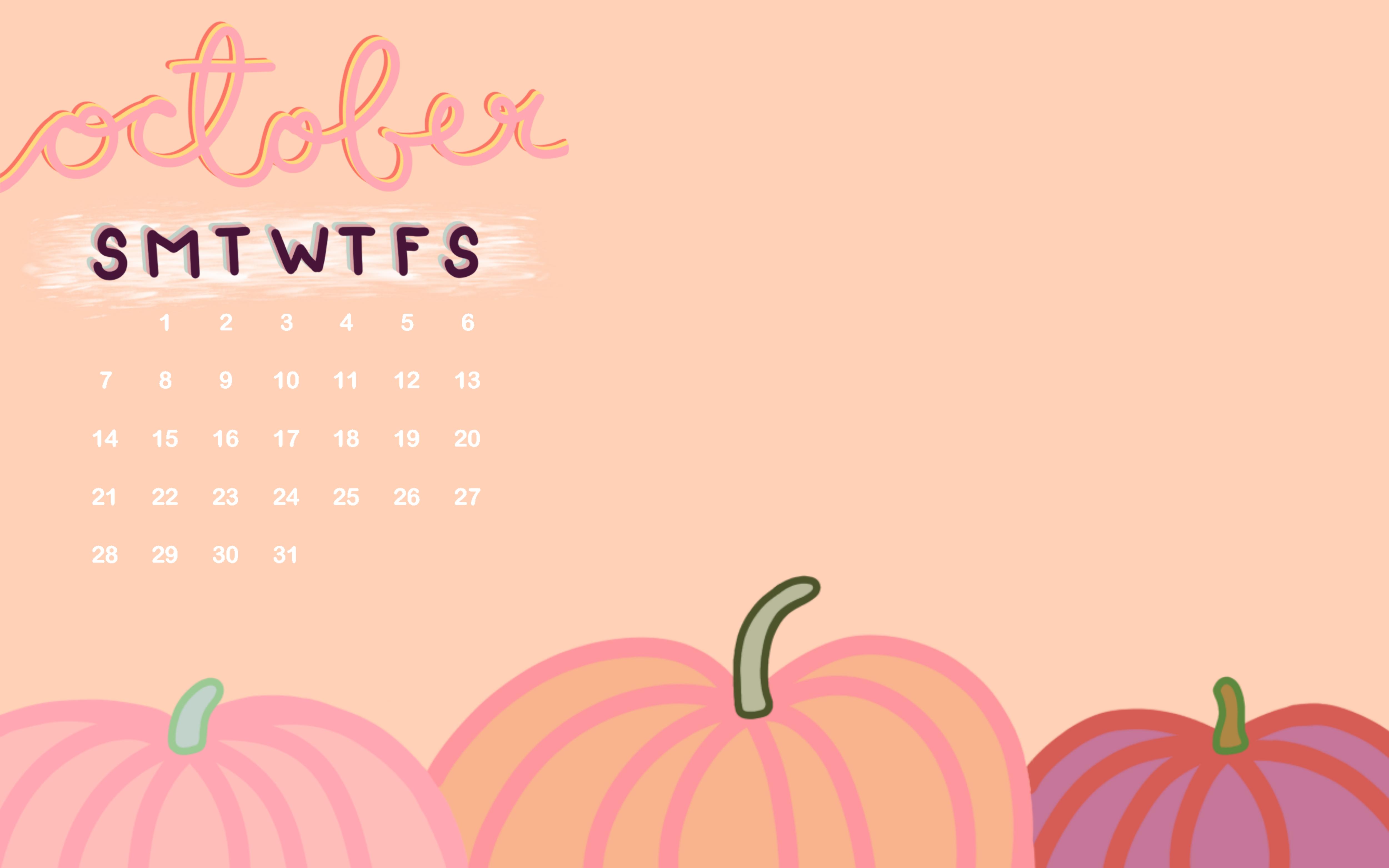October 2018 Desktop Pumpkin Calendar Wallpaper Download